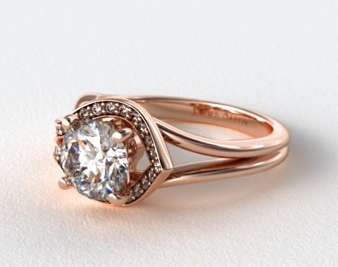 14K Rose Gold Asymmetrical Diamond Love Knot Engagement Ring