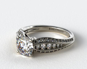 PlatinumThree Row Pinched Pave Diamond Engagement Ring