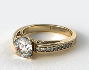 14K Yellow Gold Arched Scroll Diamond Engagement Ring