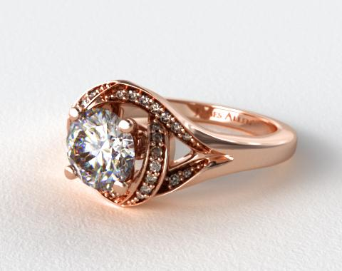 14K Rose Gold Love Knot Diamond Engagement Ring