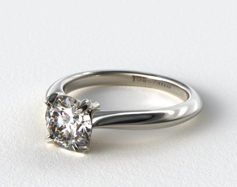 18K White Gold Double Prong Solitaire