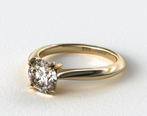 14K Yellow Gold Double Prong Solitaire