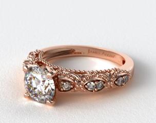 14K Rose Gold Beaded Open Span Diamond Engagement Ring