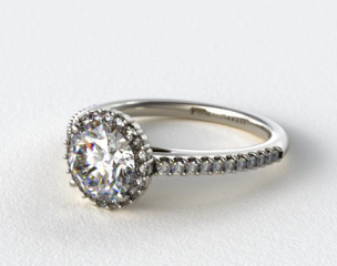 Platinum Petite Diamond Halo Engagement Ring
