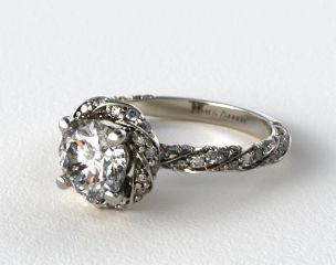 18K White Gold Twisted Pave Halo Engagement Ring
