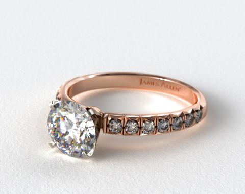 14K Rose Gold Pave Set Four Prong Diamond Engagement Ring