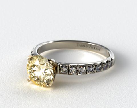 18K White Gold Pave Set Four Prong Diamond Engagement Ring (Yellow Gold Basket)