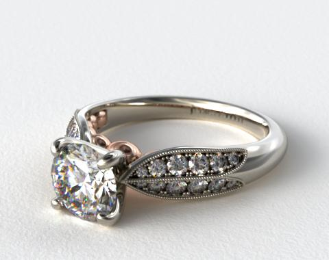 Pave and Rose  Diamond Engagement Ring