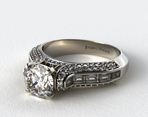 14K White Gold Baguette and Pave Diamond Engagement Ring