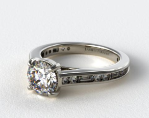 14K White Gold Alternating Baguette and Round Diamond Engagement Ring