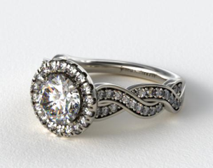 14K White Gold Pave Diamond Infinity Engagement Ring