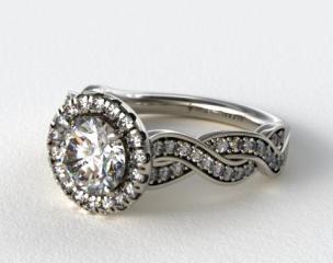 14K White Gold Pave Diamond Infinity Engagement Ring
