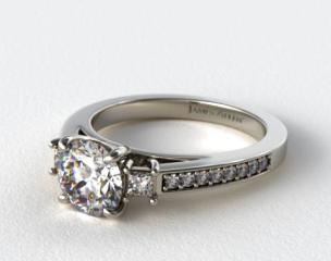 Platinum Princess Shape Trio Diamond Engagement Ring