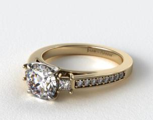 18K Yellow Gold Princess Shape Trio Diamond Engagement Ring