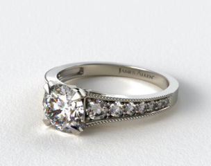 Vintage Inspired Petite Open Row Pave Diamond Engagement Ring