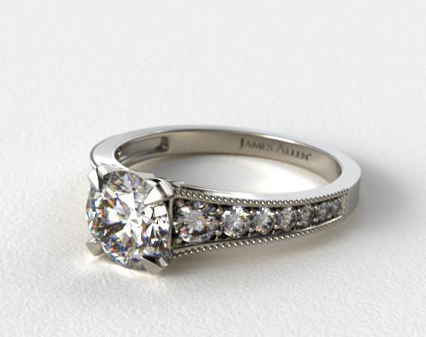 14K White Gold ReverseTaper Milgrain Diamond Engagement Ring