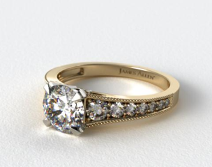 18K Yellow Gold Reverse Taper Milgrain Diamond Engagement Ring