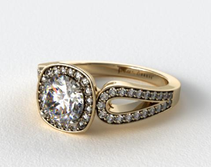 14K Yellow Gold Cushion Outline Open Loop Diamond Engagement Ring