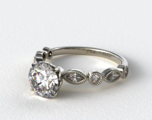 Platinum Round and Marquise Shape Diamond Engagement Ring