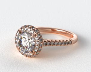 14K Rose Gold Falling Edge Pave Diamond Engagement Ring