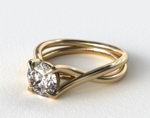 14K Yellow Gold Cross Over Diamond Engagement Ring