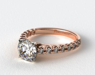 14K Rose Gold Scallop Style Diamond Engagement Ring