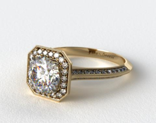 18K Yellow Gold Octagon Halo Diamond Engagement Ring