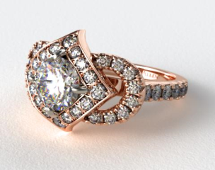 14K Rose Gold Convext Frame Diamond Halo Engagement Ring