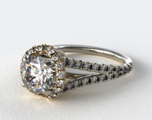 14K White Gold Tear Drop Diamond Halo Engagement Ring