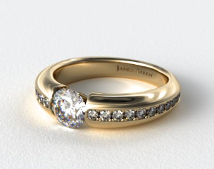 18k Yellow Gold Bar-Set Pave Set Diamond Engagement Ring