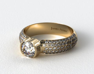 18k Yellow Gold Half-Bezel Pave Set Diamond Engagement Ring