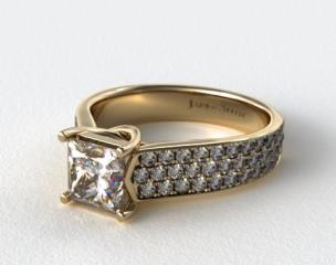 14k Yellow Gold Cross Prong Pave Set Diamond Engagement Ring