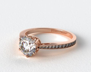 14K Rose Gold Scroll-Basket Pave Set Diamond Engagement Ring