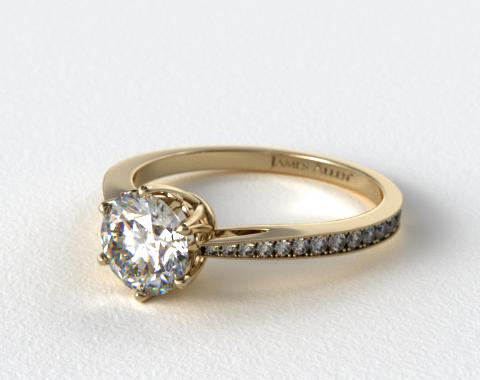 14K Yellow Gold Scroll-Basket Pave Set Diamond Engagement Ring