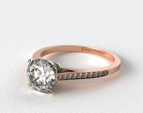 14K Rose Gold Double Claw Prong 0.18ct Pave Set Surprise Diamond Engagement Ring