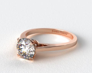 14K Rose Gold Double Claw Prong Surprise Diamond Engagement Ring