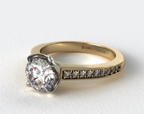 18K Yellow Gold Bead Set Cathedral Engagement Ring
