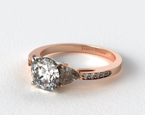 14K Rose Gold Three Stone Trillion and Pave Set Diamond Engagement Ring