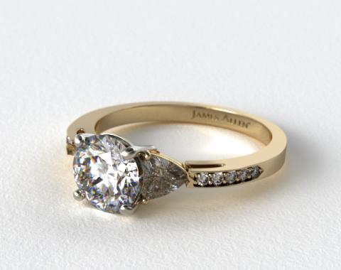 14k Yellow Gold Three Stone Trillion and Pave Set Diamond Engagement Ring