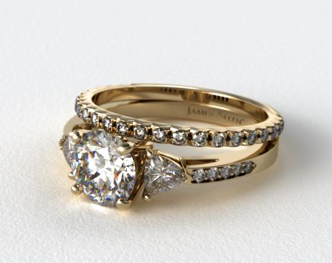 18k Yellow Gold 3-Stone, Pave Diamond Engagement Ring & French Cut Pave Diamond Wedding Ring