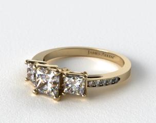 14k Yellow Gold Three Stone Princess and Pave Set Diamond Engagement Ring