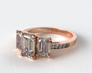 14K Rose Gold Three Stone Emerald and Pave Set Diamond Engagement Ring
