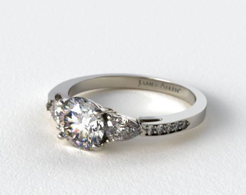 Platinum Three Stone Pear and Pave Set Diamond Engagement Ring