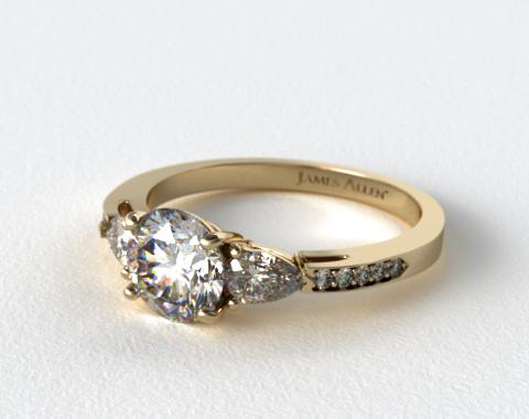 18k Yellow Gold Three Stone Pear and Pave Set Diamond Engagement Ring