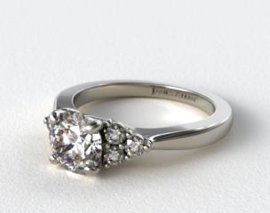 14K White Gold Triple Diamond Engagement Ring