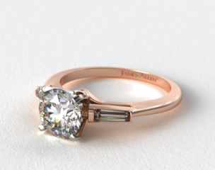 14K Rose Gold Tapered Baguette Diamond Engagement Ring