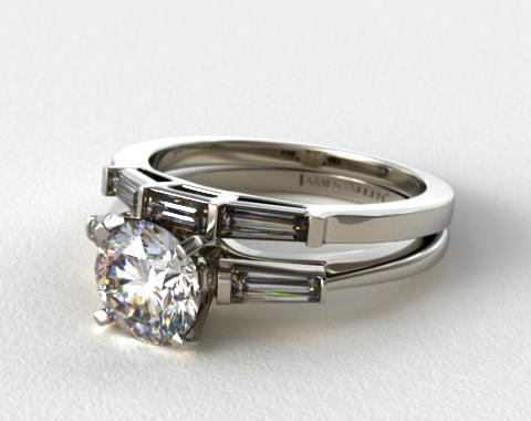 Platinum Tapered Baguette Diamond Wedding Set