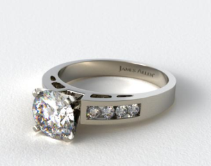 18K White Gold 0.34ct Channel Set Diamond Engagement Ring