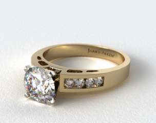 18K Yellow Gold 0.34ct Channel Set Diamond Engagement Ring