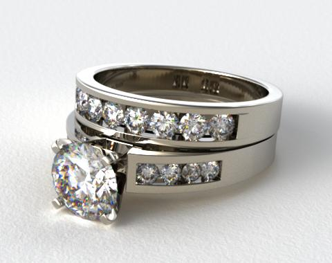 14K White Gold Channel Set Diamond Wedding Set